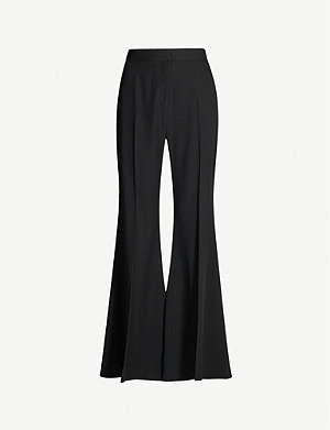 ROSETTA GETTY Flared high-rise crepe trousers