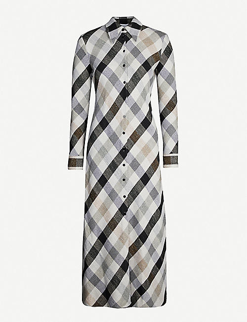 ROSETTA GETTY Checked cotton-blend shirt dress