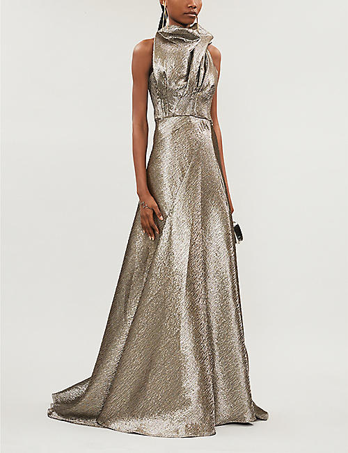 MATICEVSKI Application high-neck pleated metallic-twill gown