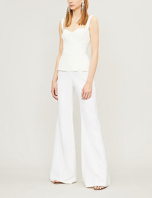 ELIE SAAB Wide-leg flared high-rise crepe trousers