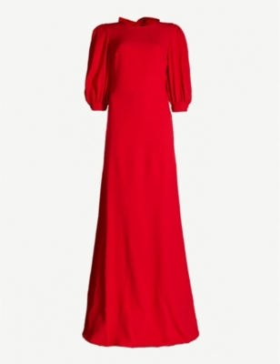 ELIE SAAB Puff-sleeve open-back woven gown