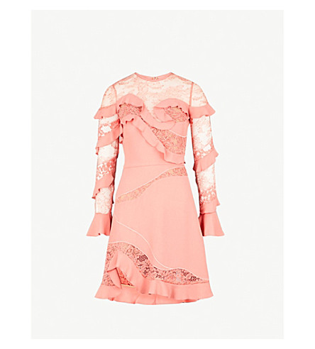 150de6d7c75a ELIE SAAB - Ruffled crepe and lace dress | Selfridges.com