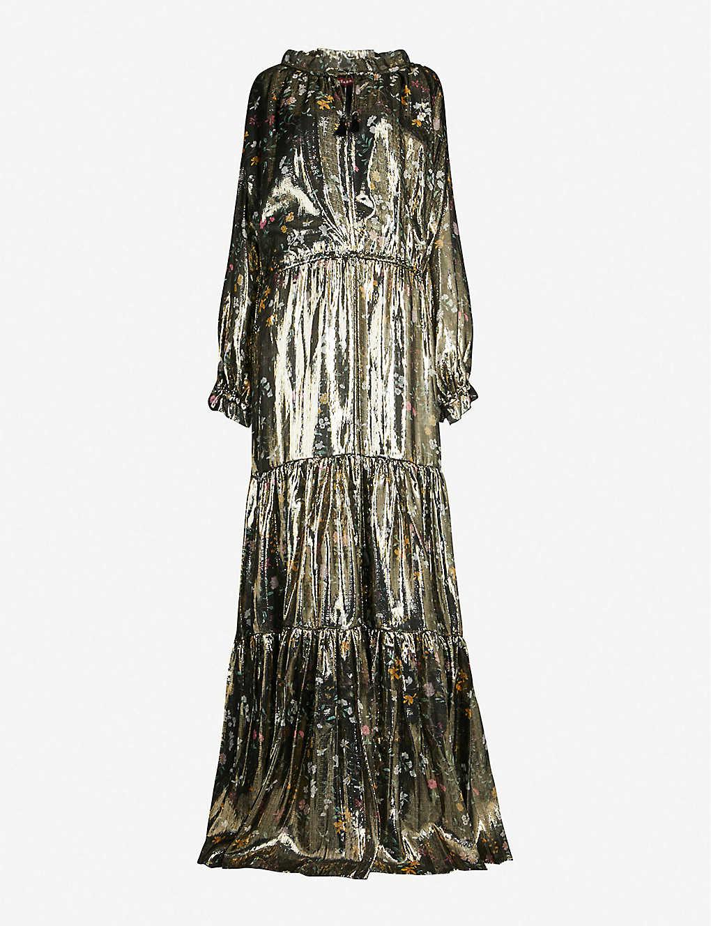 5b930dc8 ALTUZARRA - Currie tiered floral-print metallic silk-blend gown ...