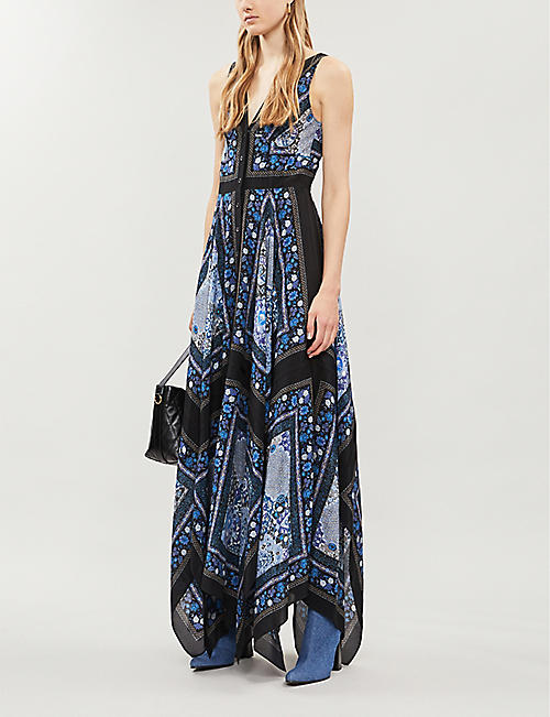 ALTUZARRA Duel graphic-pattern silk-crepe midi dress