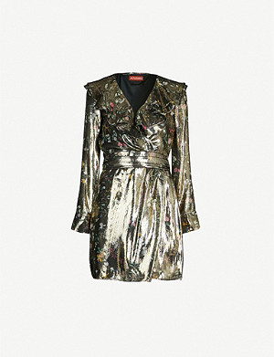 ALTUZARRA Lennox ruffled floral-print metallic silk-blend mini dress