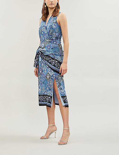 ALTUZARRA Sade mixed-print sleeveless crepe dress