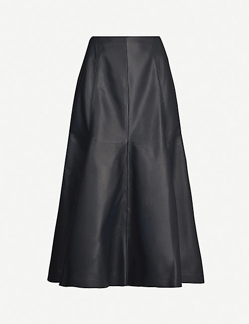 GABRIELA HEARST Amy flared leather midi skirt