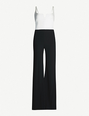 GALVAN Eclipse satin and crepe jumpsuit