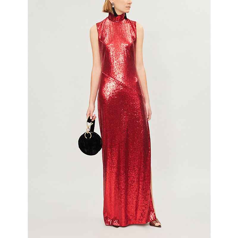 Galaxy Sequinned Dress in Red