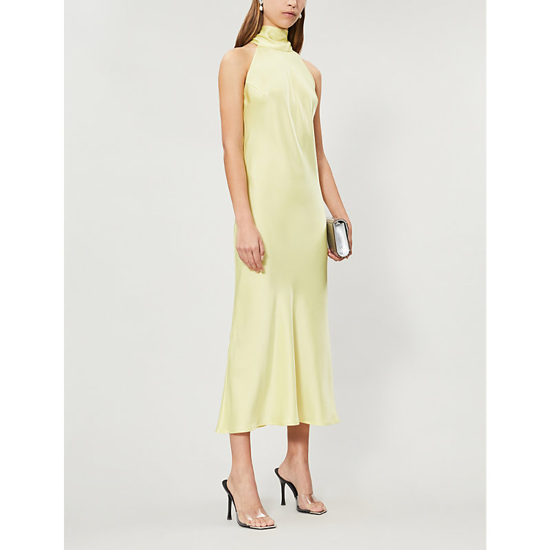Galvan Dresses SIENNA HALTERNECK SATIN MIDI DRESS