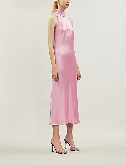 GALVAN Sienna halterneck satin midi dress