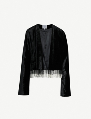 GALVAN Tailored-fit beaded velvet jacket