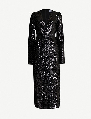 GALVAN Moonlight V-neck sequin midi dress