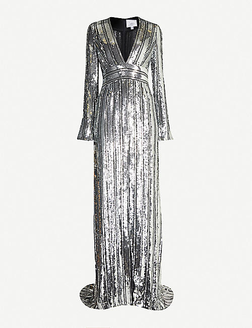 GALVAN Stardust V-neck sequinned gown
