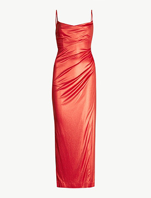 GALVAN Mars draped sleeveless satin maxi dress