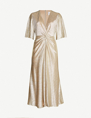 GALVAN Stella V-neck metallic woven dress