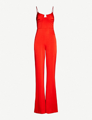 GALVAN Phoebe sleeveless satin jumpsuit