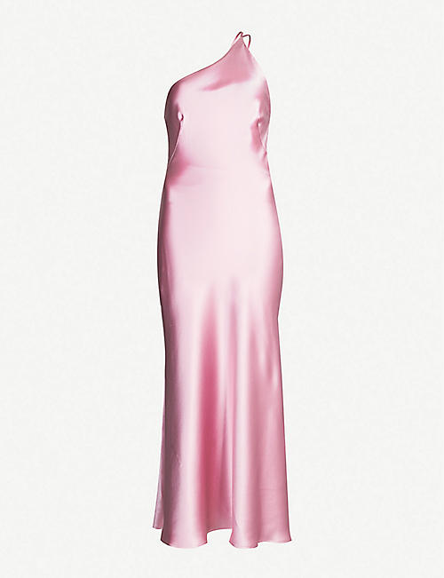 GALVAN Roxy one-shoulder silk-satin midi dress