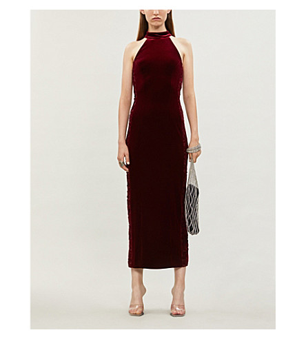 Galvan ROSA FLORAL-APPLIQUÉD STRETCH-VELVET DRESS