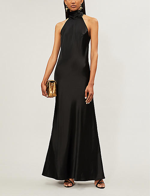 GALVAN Sienna sleeveless high-neck satin gown