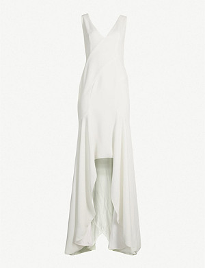 GALVAN Low-back asymmetric crepe gown