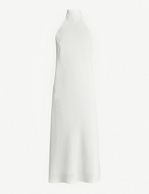 GALVAN Capri halterneck satin-crepe midi dress