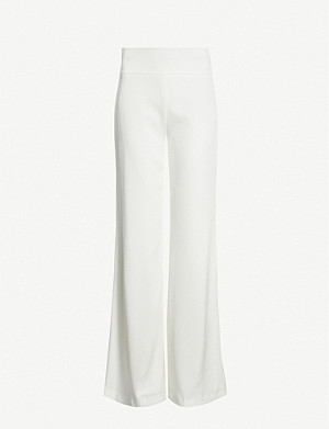 GALVAN Wide-leg high-rise crepe trousers