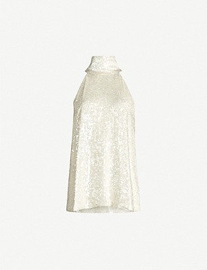 GALVAN Moonlight sleeveless halter-neck sequins top