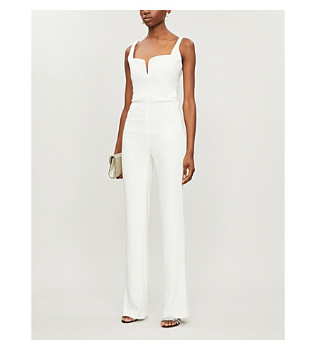 Galvan LONDON SLEEVELESS FITTED CREPE JUMPSUIT