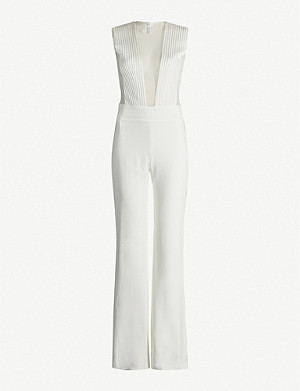 GALVAN Soho stripe-panelled crepe wide-leg jumpsuit