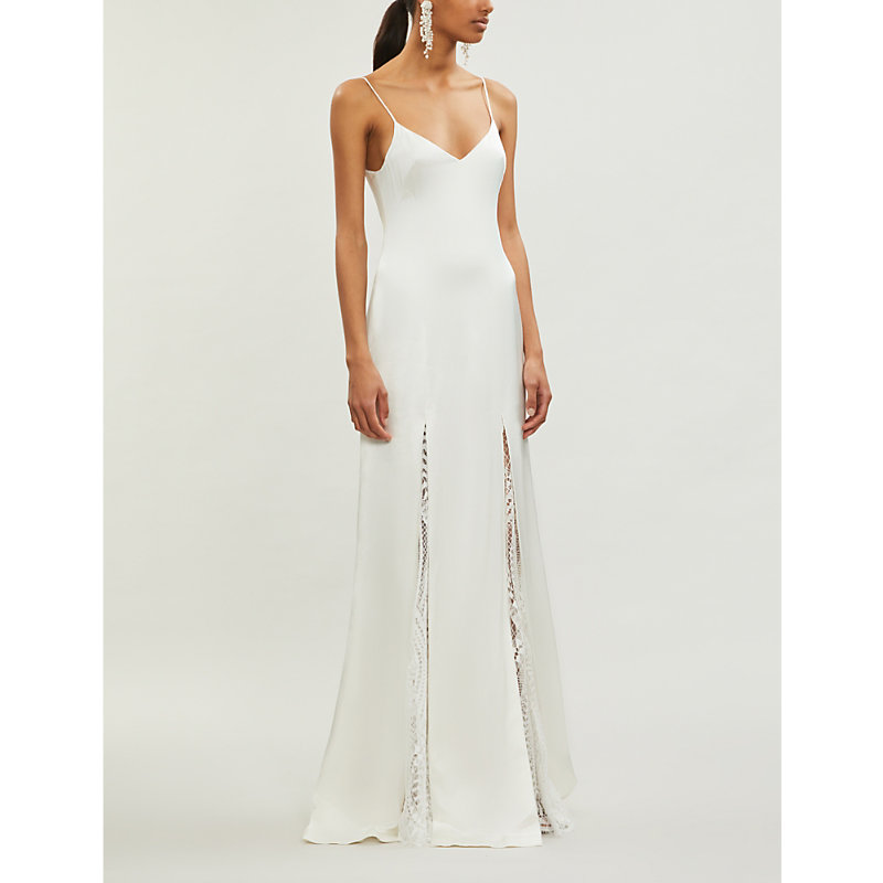 Galvan Tops WINDMILL LACE-TRIMMED SATIN GOWN