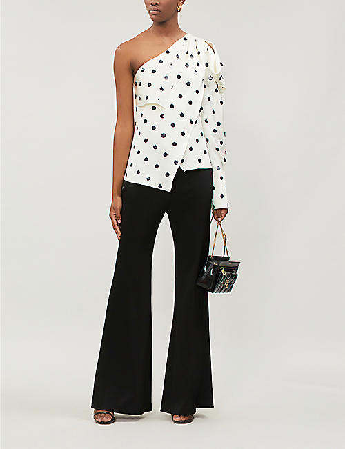 MONSE Asymmetric sequin-embellished silk shirt