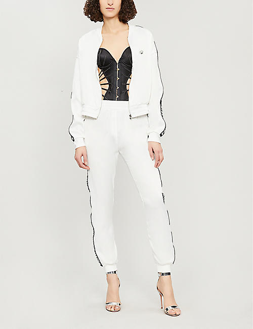 PHILIPP PLEIN Logo-print satin jogging bottoms