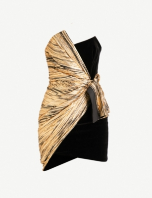 ALEXANDRE VAUTHIER Strapless velvet and metallic foil mini dress