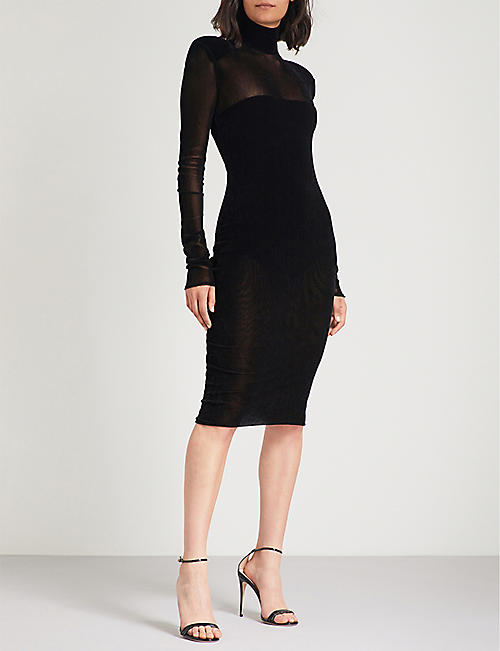 ALEXANDRE VAUTHIER High-neck velvet midi dress