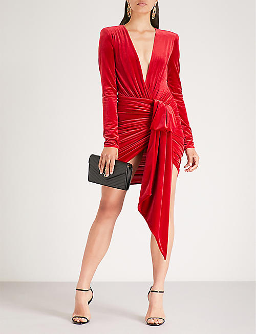 ALEXANDRE VAUTHIER Plunging V-neck ruched velvet mini dress