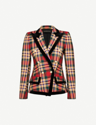 ALEXANDRE VAUTHIER Velvet-trim plaid wool jacket