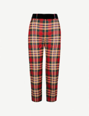 ALEXANDRE VAUTHIER Velvet-waistband plaid wool trousers