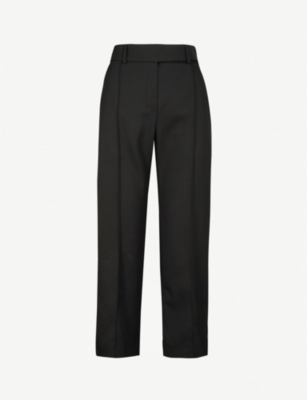 ALEXANDRE VAUTHIER Velvet side-stripe straight cropped wool trousers