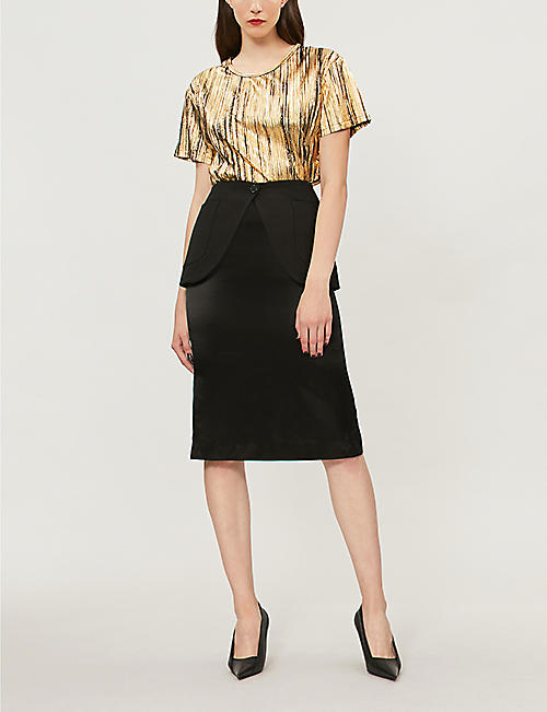 ALEXANDRE VAUTHIER Pleated metallic-lamé top
