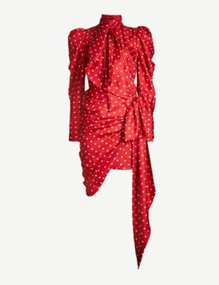 ALEXANDRE VAUTHIER Ruched polka dot-print silk-satin mini dress