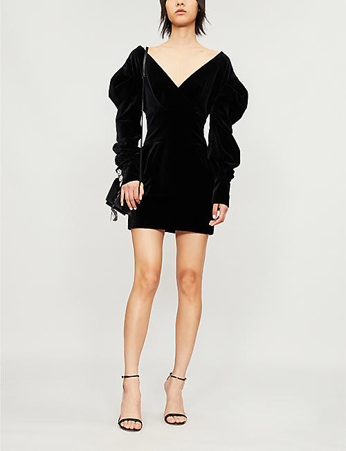 ALEXANDRE VAUTHIER Off-the-shoulder velvet mini dress