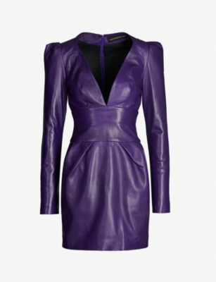 ALEXANDRE VAUTHIER Plunging V-neck leather mini dress