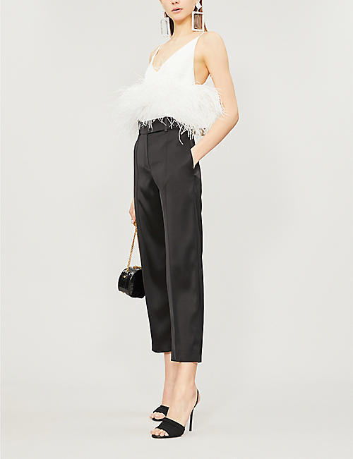 ALEXANDRE VAUTHIER Cropped high-rise wide-leg satin trousers