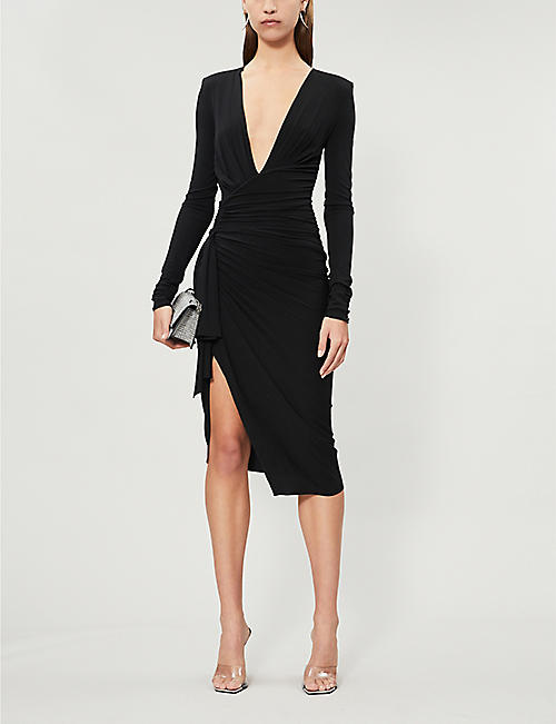 ALEXANDRE VAUTHIER Plunge V-neck stretch-jersey midi dress