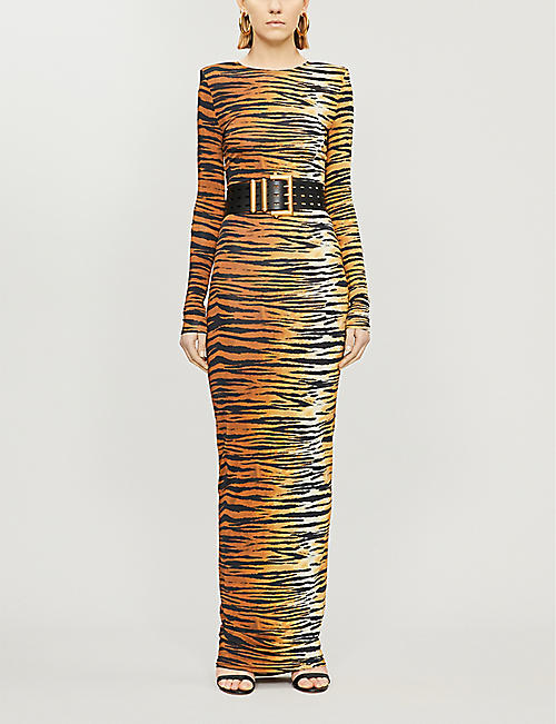 ALEXANDRE VAUTHIER Tiger-print stretch-jersey maxi dress