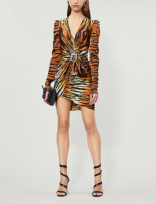 ALEXANDRE VAUTHIER V-neck draped tiger-print silk-satin mini dress