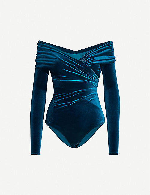ALEXANDRE VAUTHIER Off-the-shoulder stretch-velvet bodysuit