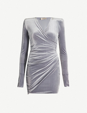 ALEXANDRE VAUTHIER V-neck stretch-velvet mini dress
