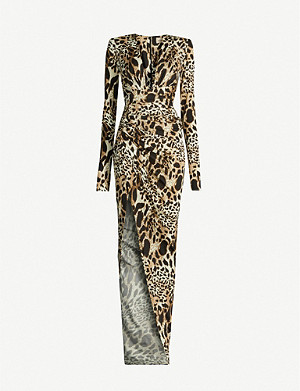 ALEXANDRE VAUTHIER V-neck leopard-print stretch-jersey gown